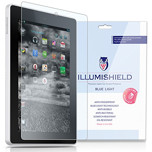 Illumishield - Amazon Kindle Fire Hd 7 Screen Protector (2014) With Hd Blue Light Uv Filter And Lifetime Replacement Warranty / Premium High Definition Clear Film / Reduces Eye Fatigue And Eye Strain - Anti- Fingerprint / Anti-Bubble / Anti-Bacterial Shie