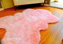Fur Decors Nursery Room Area Sheepskin Rug Baby Girl Accents Plush Shaggy Handmade (5\' x 6\' feet)