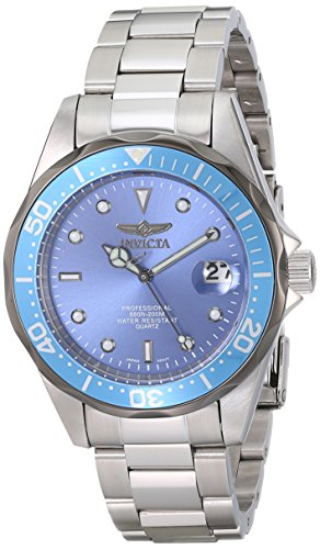 Invicta Mens 12813X Pro Diver Blue Dial Stainless Steel Watch
