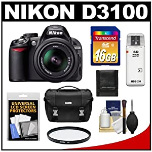 Nikon D3100 Digital SLR Camera & 18-55mm VR Lens with 16GB Card + Filter + Case + Accessory Kit