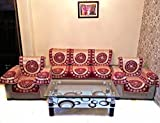 MAROON BERRY CHENILLE SOFA SLIPCOVER SET WITH 6 ARMS COVER