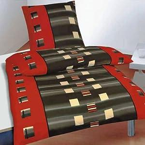 3 Teilige Microfaser Bettwäsche Rot Schwarz Rot Karos Kariert Kasten
