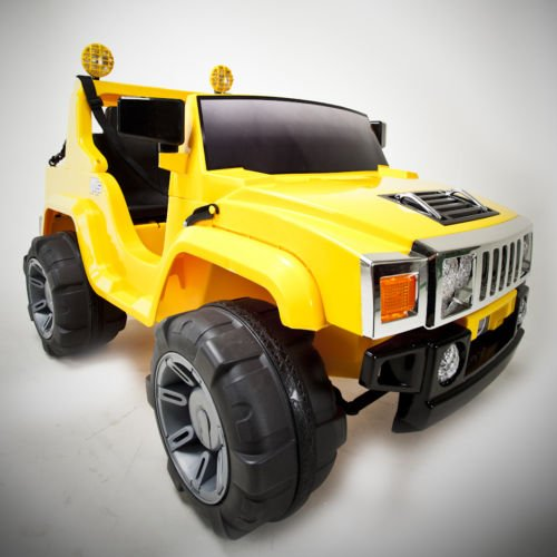 Yellow 12v Battery Power Kids Ride on Hummer Style Jeep w/ Big Wheels. New 2012 Model.