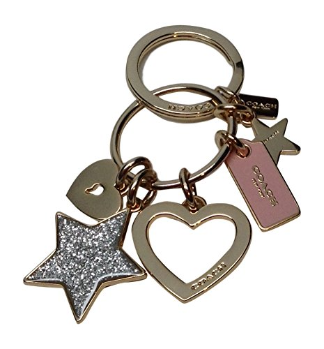 Coach Valentines Day Open Heart Glitter Star Charms Key Ring Fob 65166