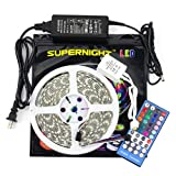 Kit de tira de luces LED SUPERNIGHT RGBWW de 5 metros, 5050 300 Leds RGB, blanco cálido, impermeable y flexible, con control remoto.