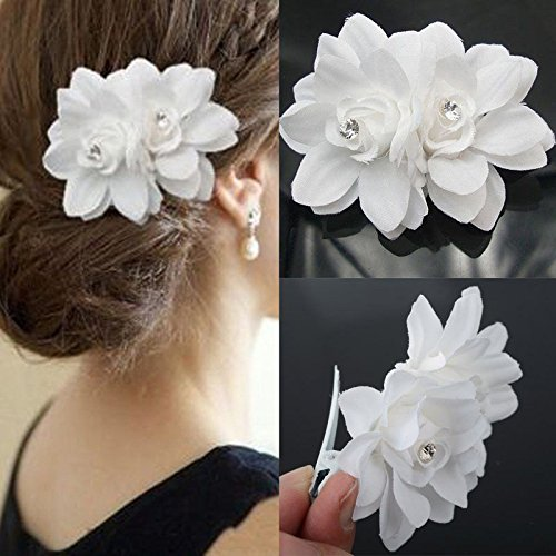 Akak Store New Beauty Women's Bridal Wedding Rhinestone Orchid Hair Clip Barrette Bridal Wedding Party Women Accessories (1Pcs,White)