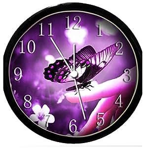glow in the dark wall clock purple butterfly