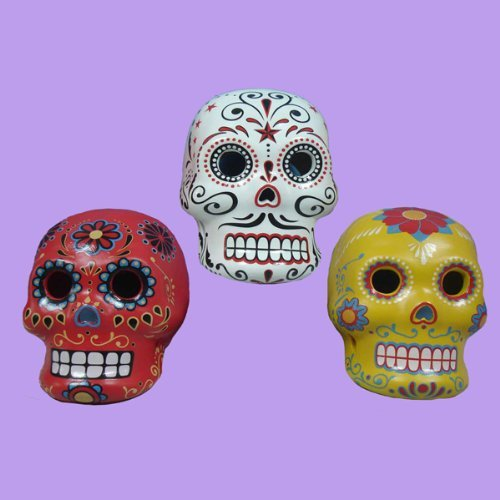 6 LED Lighted Day of the Dead Skull Halloween Votive Candle Holders 3.25 by KSA