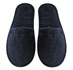 Arus Men\'s Turkish Terry Cotton Cloth Spa Slippers, One Size Fits Most, Black with Black Sole
