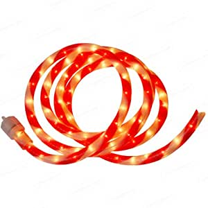 12' Red & White Ribbon Candy Stripe Christmas Rope Light