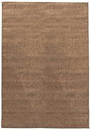Berrnour Home Summer Collection Natural Dark Brown Solid Design Indoor / Outdoor Jute Backing Area Rug (5\'3\