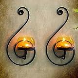 Tied Ribbons Diwali Decoration Candles Holder Set Of 2 (Black, Metal)
