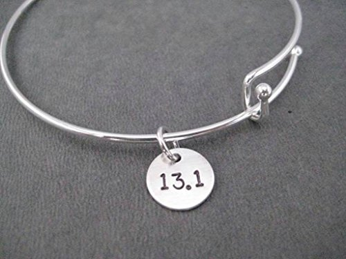 RUN YOUR DISTANCE Bangle Bracelet - Sterling Silver Charm on Adjustable Expandable Silver Plated Bangle Bracelet - Choose RUN, 5K, 10K, 13.1, 26.2 or XC - Sterling Silver Charm
