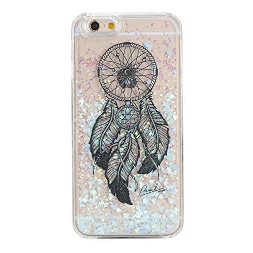 IKASEFU Funny Novelty[Flowing Glitter Blue Hearts]Black Dreamcatcher Hard Bling Shiny Clear Liquid Plastic Case Cover for iPhone 6/6S 4.7