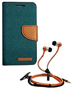 Aart Fancy Wallet Dairy Jeans Flip Case Cover for Micromax-Q372 (Green) + Zipper Earphones/Hands free With Mic *Stylish Design* for all Mobiles- computers & laptops By Aart Store.