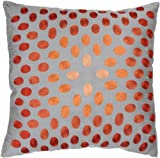 Rizzy Home T-3070 Decorative Pillows, 18 by 18-Inch, Gray/Orange, Set of 2