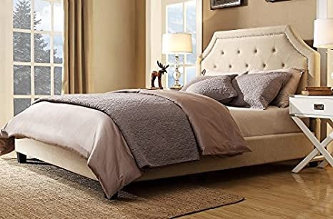 Hampton and Rhodes Agostini Bed Set in Beige Linen