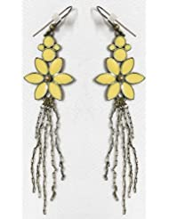 Fashionable Yellow Flower Earrings - Stone And Metal