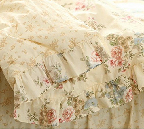 FADFAY Home Textile,Vintage Floral Print Bedding Set,Elegant French Country Style Bedding Set,4Pcs 6
