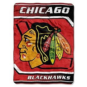 NHL Chicago Blackhawks Banner Royal Plush Raschel Throw Blanket, 60x80-Inch by Northwest