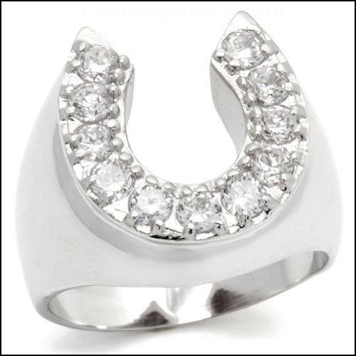Men's Silver Plated CZ Lucky Horseshoe Ring