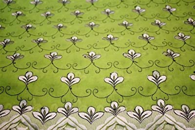 Lime Green,embroidery Polycotton African Lace Textile in 11 Colors, Blended Cotton Voile