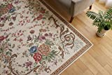 ゴブラン織り シェニール 薄型 ラグ マット ゴブラン 095 ライトベージュ 約90x140cm 花 模様 ロマンティック デザイン