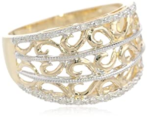 10k Yellow Gold Filigree Diamond Ring, Size 8
