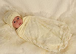 Cozy Cocoon® Jasmine Lace Cocoon & Hat Set (Infant (0-3 Months), Yellow)