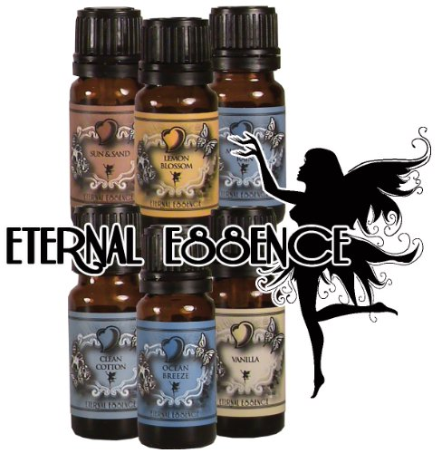 Fragrance Oil - Eternal 6 Pack of Essence - Sun & Sand, Lemon Blossom, Mountain Rain, Clean Cotton, Ocean Breeze, Vanilla - 10 ml - Scented Oil