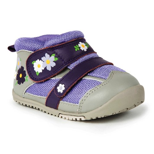 Momo Baby First Walker/Toddler Field of Flowers Purple Leather Sneaker Shoes - 5.5 M US Toddler