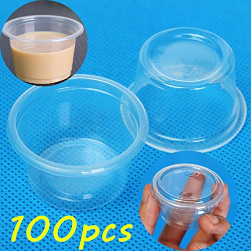 100pcs 1oz 30ml Cup With Lid Clear Plastic Pudding Jelly Sauce Cup (1 2 Ounce Mason Jars compare prices)