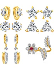 Jewels Galaxy All IN ONECollection Combos Of Fancy American Diamond Earrings And 1 Floral Adjustable Ring - Combo...