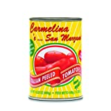Carmelina 'e San Marzano Italian Whole  Peeled Tomatoes in Puree, 14.28-Ounce Cans (Pack of 12) ~ Mangia