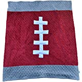 "Cozy Wozy Football Themed Minky Baby Blanket, Crimson Red/Gray, 30"" X 36"""