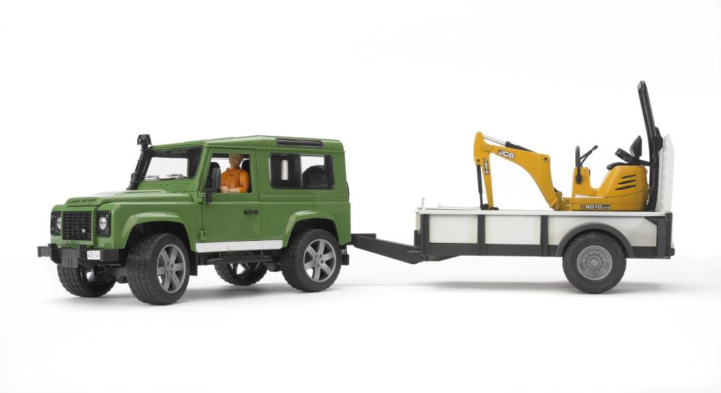 land rover defender avec une remorque et mini pelle jcb. Black Bedroom Furniture Sets. Home Design Ideas