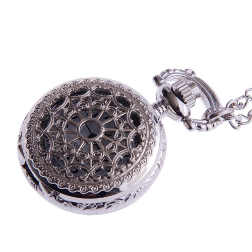 Ladies Pendant Pocket Watch Steampunk Vintage Necklace Design With Chain Silver Small Face White Dial Arabic Numerals PW-55