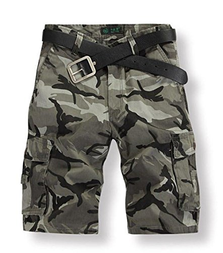 ISEYMI Men's Casual Slim Fit Cargo Camouflage Shorts Multi Pockets Army Camouflage Shorts