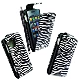 MOBILEEXTRALTD® For LG Viewty Snap Gm360 Black White Zebra Printed Pouch PU Leather Magnetic Protected Flip Case Cover + Free Stylus