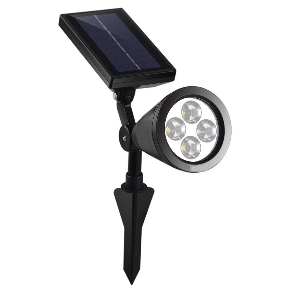 BRD Technology Solar Powered 4 LED Spotlight Outdoor Waterproof Garden 1.5W LED Bright White Light Lamp for Outdoor Landscape, Garden, Driveway, Pathway, Yard, Lawn, House, Tree, Etc. Solar Energy Exterior Lighting; Auto-on at Night and Auto-off by Day; youoklight 0 5w 3 led white light mini waterproof solar powered fence garden lamp black