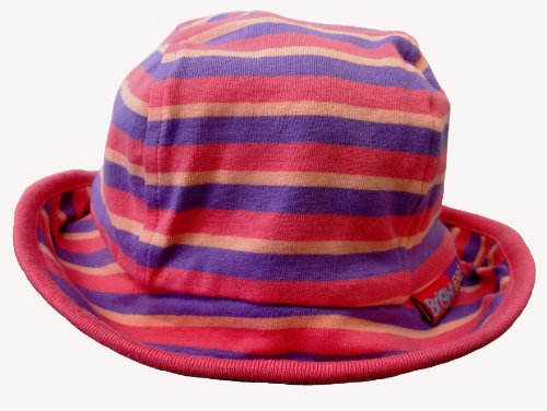 Bright Bots Bucket Style Sun Hat Soft Cotton Jersey Mauve Stripe size Small (approx. 0-6 months)