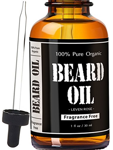 Leven Rose Beard Oil and Leave-In Conditioner – Best Beard Oil Fragrance Free – 100% Pure Organic Natural Unscented for Groomed Beard Growth, Mustache, Skin for Men – 1 Oz – Jojoba and Argan Oil