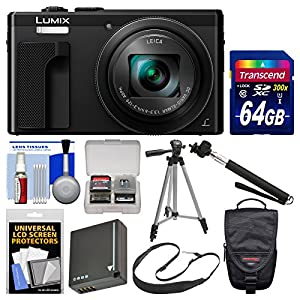 Panasonic Lumix DMC-ZS60 4K Wi-Fi Digital Camera (Black) with 64GB Card + Case + Battery + Tripod + Selfie Stick + Sling Strap + Kit