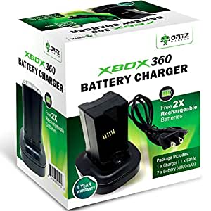 ortz xbox 360 battery pack free 2x rechargeable batteries with charging station. Black Bedroom Furniture Sets. Home Design Ideas