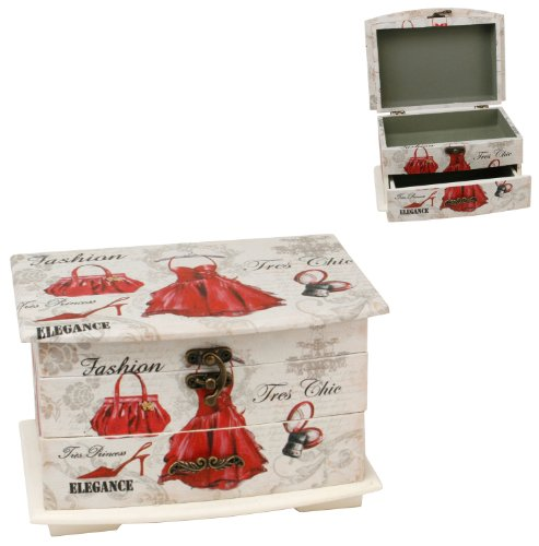 Sophia Vintage Shabby Chic Jewellery Box Lid & Drawer - Little Red Dress 2666