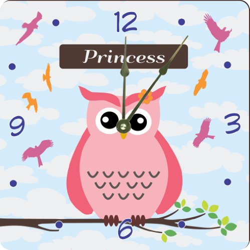 "Rikki Knighttm ""Princess"" Name - Cute Pink Owl On Branch With Personalized Name Design 6"" Art Desk Clock"