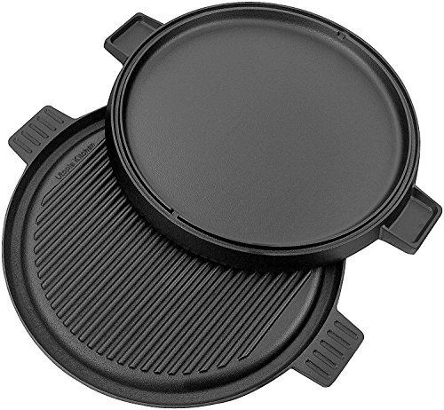 Cast Iron Griddle Pizza Pan - Pre Seasoned Grill, Reversible, Stove Top with Dual Handle Black, 12-inch by Utopia Kitchen (12-Inch Reversible) (Cook Top Iron Griddle compare prices)