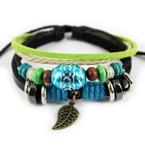 Wild Wind Unique Leaf Pendant Oval Beads Multistrand Leather Adjustable Wrap Bracelet (Blue)