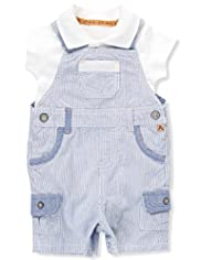 2 Piece Autograph Pure Cotton Striped Bibshort Dungaree Outfit