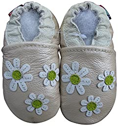Carozoo baby girl soft sole leather infant toddler kids shoes 3 Flower Pearl 5-6y